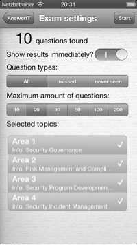 AnswerIT iPhone App - Exam settings